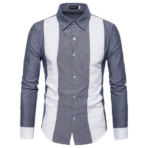 Daily Lapel Color Clock Slim Shirt