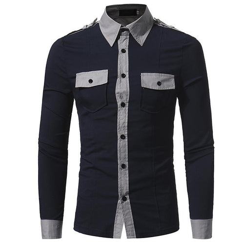 Chic Split Joint Lapel Slim Casual  Shirt