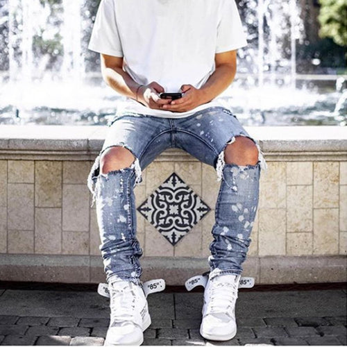 Men's Casual Ripped Jeans Skinny Pants