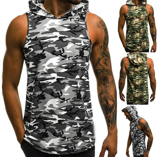 Men's Fashion Camouflage Hooded Tank