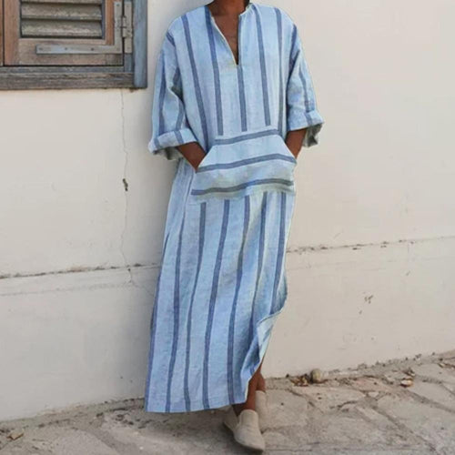 Men's New Fashion Striped V-Neck Kaftan