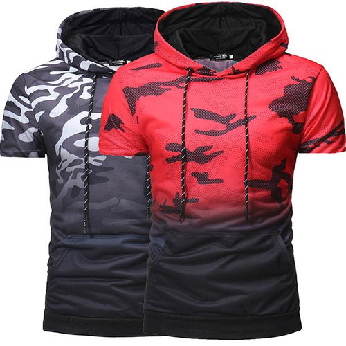 Men's Fashion Gradient Color Camouflage Hooded T-Shirt