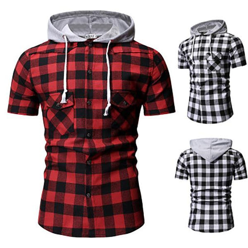 Men's Fashion Check Hooded Short Sleeve Shirt