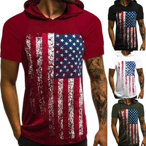 Casual Hooded Short Sleeve Patterned T-Shirt