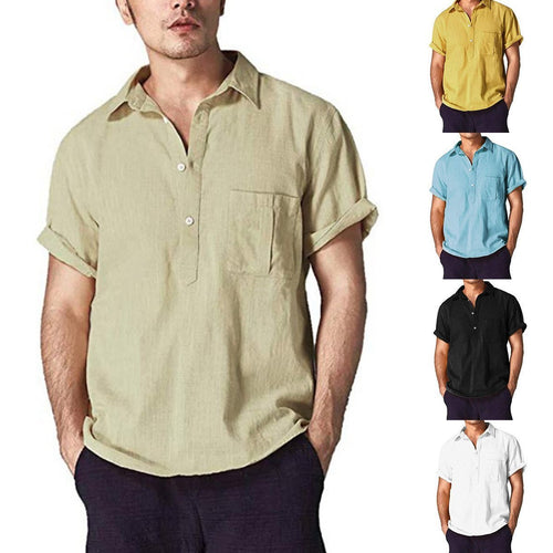Linen Lapel Short-Sleeved Shirt