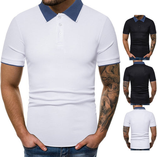 Men'sneckline Colorblock Fashion Slim Lapel T-Shirt