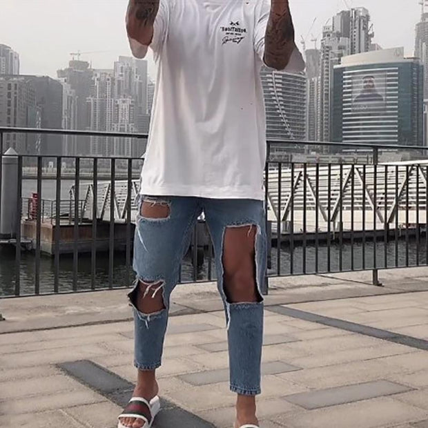 Fashion Casual Big Broken Hole Jeans