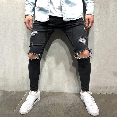 Fashion Broken Hole Washed Slim Fit Jeans