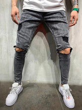Load image into Gallery viewer, Fashion Broken Hole Washed Straight Jeans