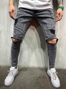 Fashion Broken Hole Washed Straight Jeans