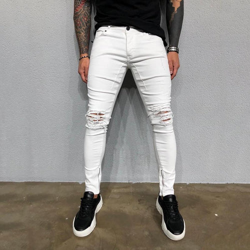 Broken Hole Ankle Zip Slim Fit Ripped Jeans