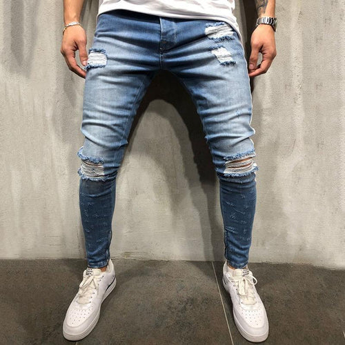 Street Broken Hole Zipper Slim Fit Jeans