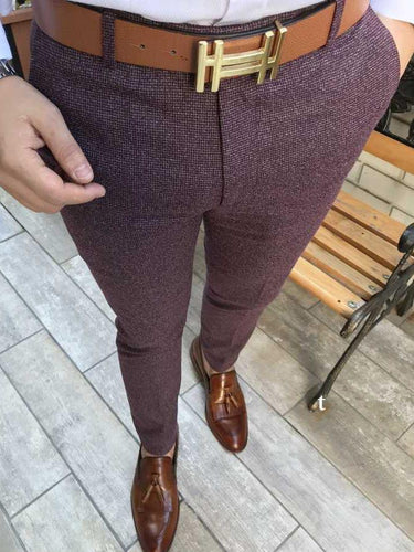 Cut Slim Fit Fashion Claret Red Trousers Men's Casual Pants