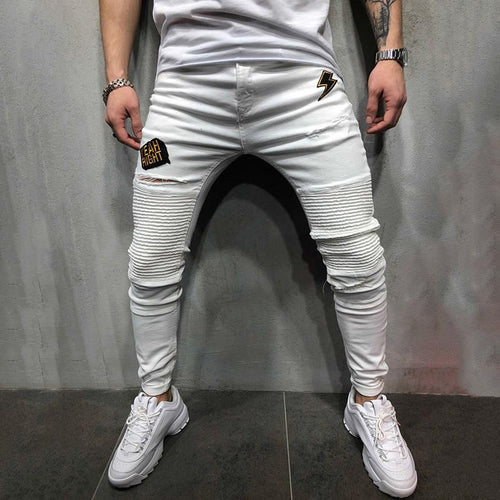 Embroidered Patch Men's Pleated White Jeans