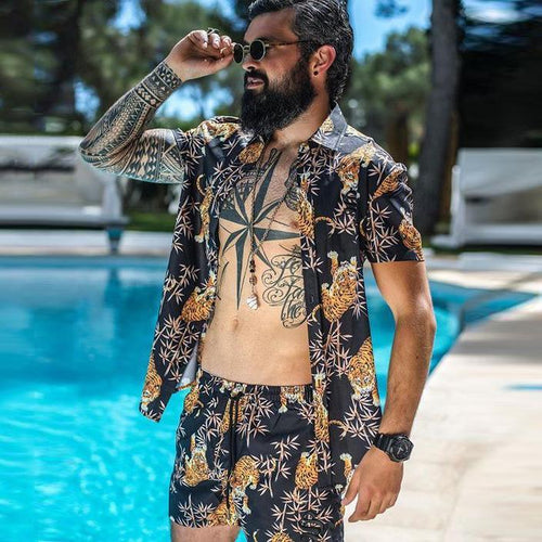 Fashion Men's Beach Holiday Short Sleeve Print Top Shorts Set