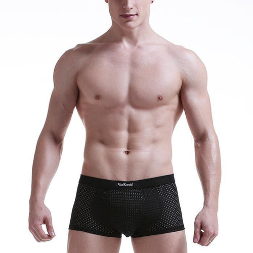 Fashion Men's Underwear Mesh Breathable Boxer Briefs