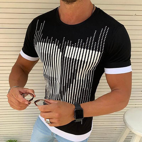 Casual Round Neck Slim Fit Printed Tee