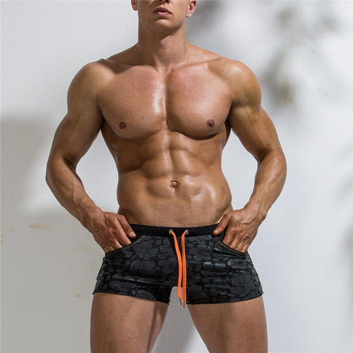 Fashion Men's Printed Pocket Swimwear Shorts