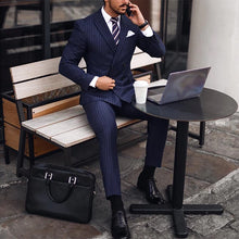 Load image into Gallery viewer, Commuting Slim Fit Stripe Double-Breasted Formal Suit Set