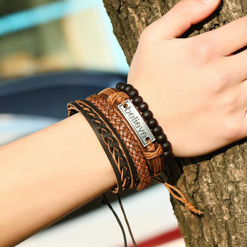 Euramerican Style Men's Handmade Knitted Leather Bracelet