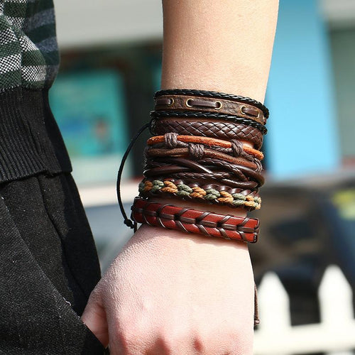 Euramerican Vintage Knitted Cowhide Six-Piece Bracelets