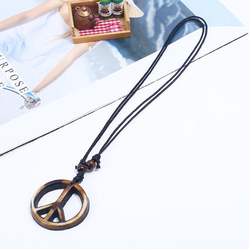 Men's Vintage Hand-Knitted Resin Peace Sign Necklace