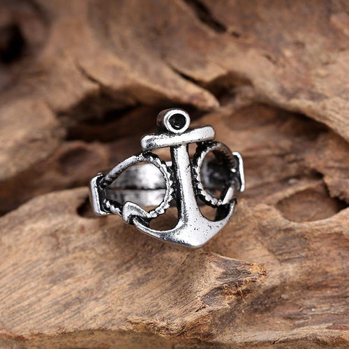 Men's Vintage Personality Navy Anchor Alloy Ring