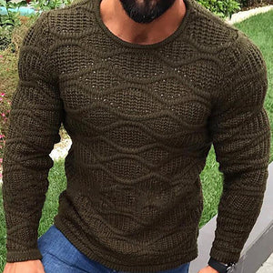 Casual Wave Pattern Round Neck Sweater