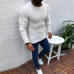 Fashion Simple Jacquard Stitching Long Sleeve Sweaters