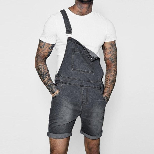 Fashion Casual Crimping Straight Type Denim Overalls