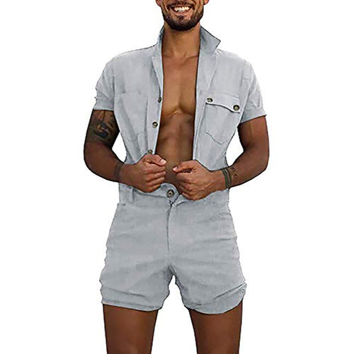 Fashion Casual Double Pocket Buckle Tooling Romper