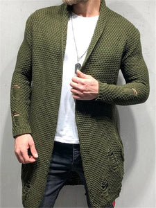 Fashion Green Fruit Collar Men's Long Cardigan Sweaters