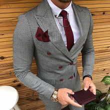 Load image into Gallery viewer, Fashion Fine Plaid Flip Collar Double-Breasted Suits