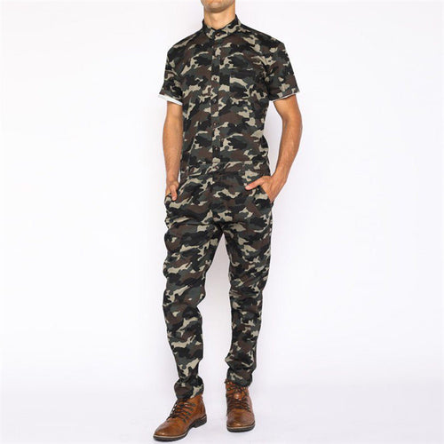 Casual Slim Camouflage Printed Jumpsuit