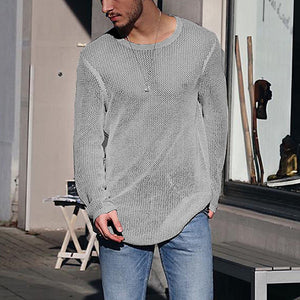 Casual Slim Fit Pure Colour Round Neck Sweater
