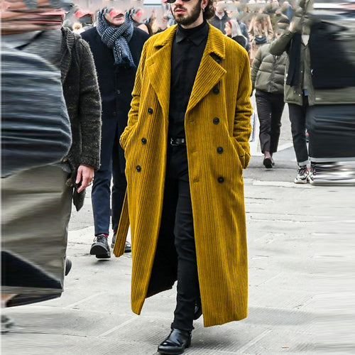 Modern solid color pocket with long trench coat