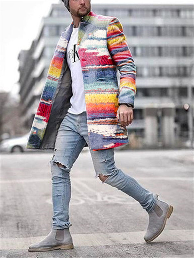 Business Rainbow Print Coat