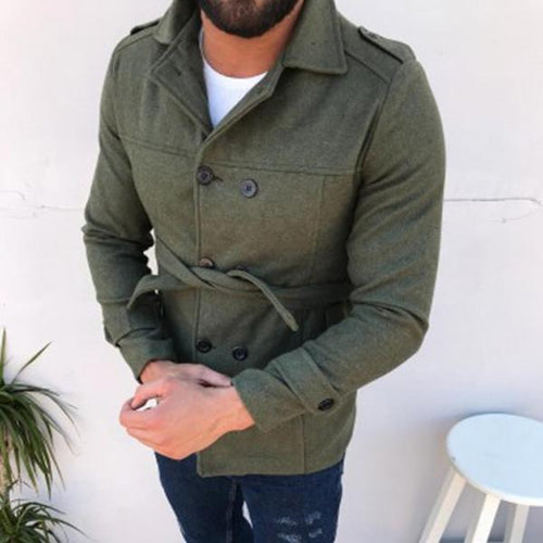 Stylish Slim Double-Breasted Mid-Length Wool Coat