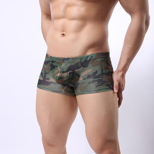 Camouflage Sexy Low Waist Breathable Four-Corner Underwear U Sac Bag Men's Boxers