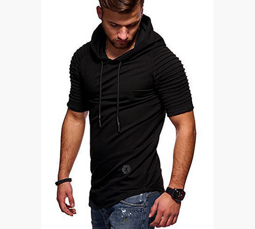 Striped Cuffs Fitness Hooded Casual Sports T-Shirt