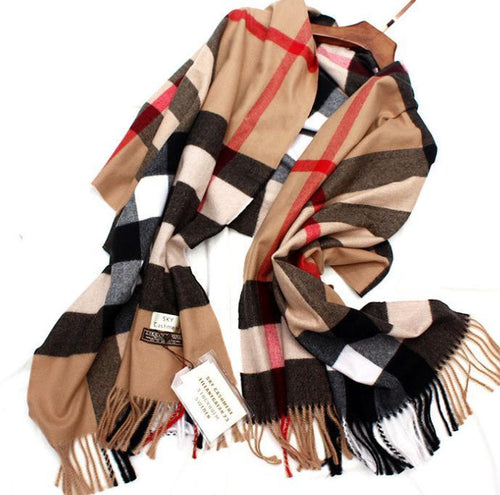British plaid silk cashmere scarf men's and women's shawl