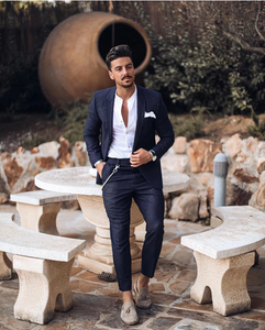 Commuting Slim Fit Stripe Double-Breasted Formal Suit Set
