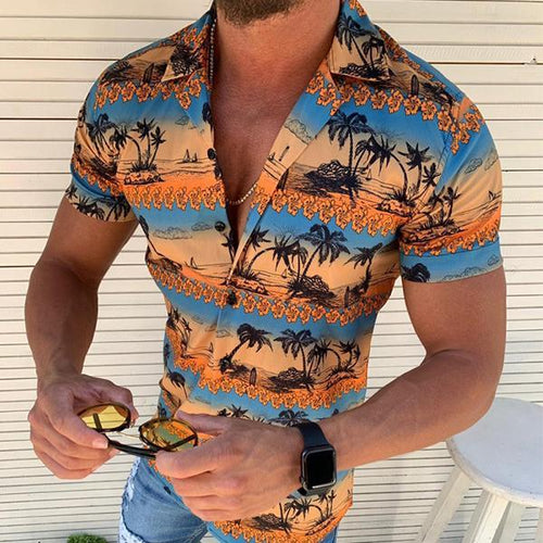 Vacation Style Colorblock Coconut Palm Printed Short Sleeve Shirts