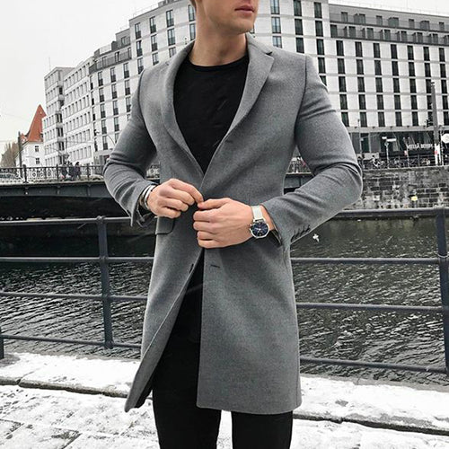 Fashion Solid Color Single Row Slim Fit Overcoat