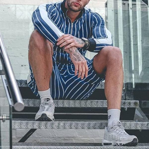 Men's Stand-Collar Striped Top And Pants Playsuits