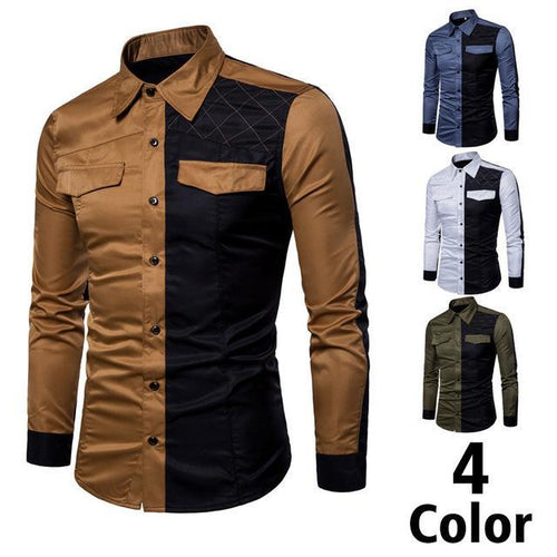 Fashion Lapel Color Block Checked Printed Slim Shirt