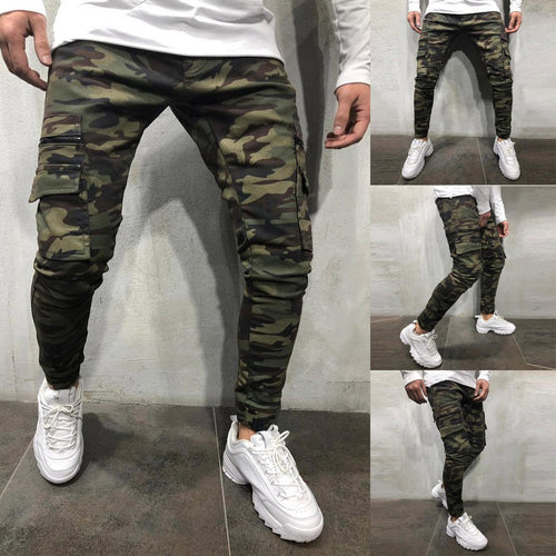 Fashion Slim Camouflage Zipper Bags Jeans