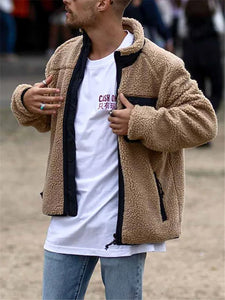 Casual Stand-up Collar Raglan Fleece Jacket