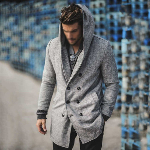 Men's fashion double-breasted solid color hooded trench coat