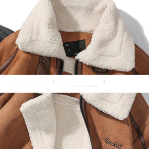 Trendy Fur Collar Lambskin Jacket